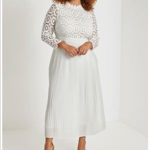 Eloquii white lace evening dress w/ pleated skirt